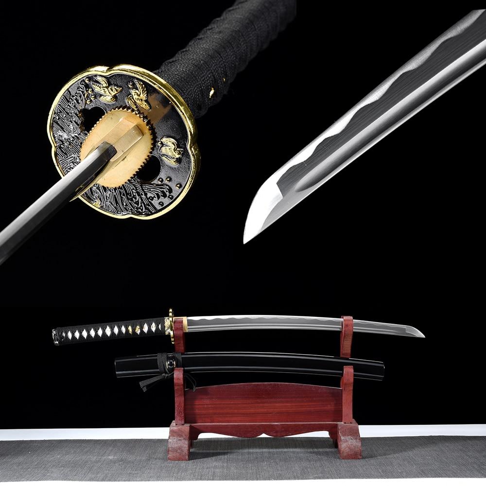 Handforged Japanese Wakizashi Real Steel Samurai Sword Ful Tang With Blood Groove Black Wooden Scabbard Sharp Ready-31.5inch