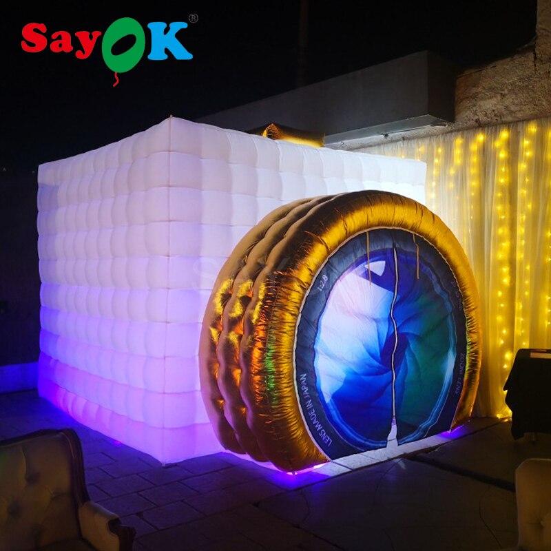 Novo Estilo Forma Câmera Cabine de Fotos Inflável Barraca Inflável Cabine De Casamento Branco Dentro com LED para o Casamento Do Partido Publicidade