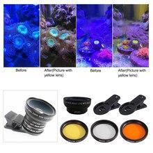 Lentes de aquário, lentes para aquário, tanque de água salgada, coral de água salgada, lente telefone, câmera, filtros, macro, lente, terrário aquático