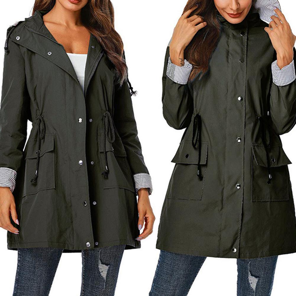 Women Lady   Trench   Coat Waterproof Solid Color moda feminina Hooded Autumn   Trench   Coat Long Sleeve manteau femme Outwear тренч