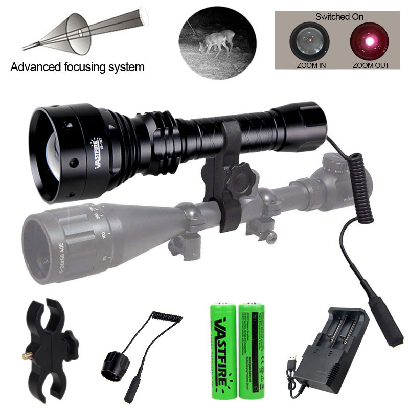800Yards 70mm Lens Zoomable Adjustable Infrared Flashlight 850nm IR Night Vision Illuminator+Rifle Mount+Switch+2*18650+Charger