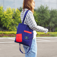 Women Patchwork Shopping Bag Canvas Tote Large Capacity  Folding Ladies Shoulder Messenger Bags Fashion zipper Big Size Handbag