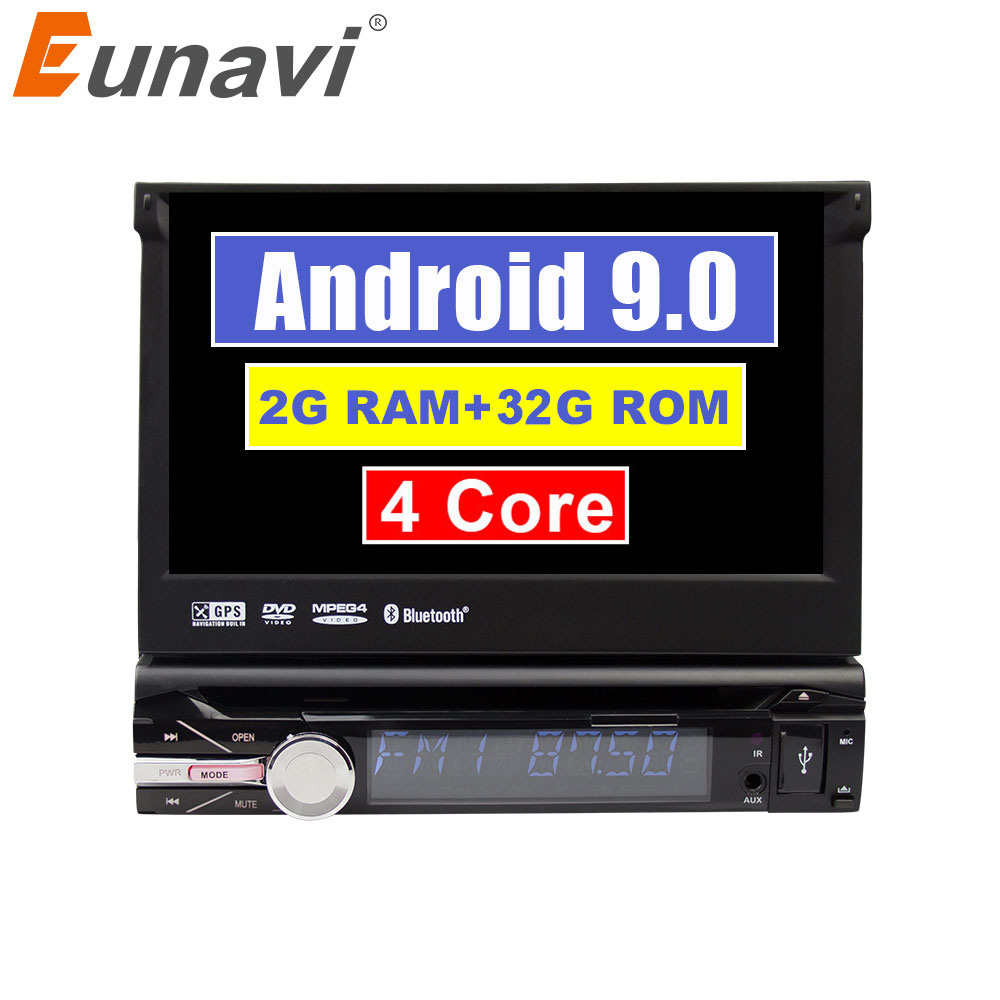 Eunavi Universal 1 din 7'' Android 9,0 auto radio dvd-player stereo Quad core 1din gps navigation stereo bluetooth wifi rds usb