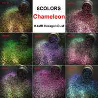 8 FARBEN Chameleon Glitter Mixed Metallic Glanz 0,4 MM Hexagon Form Staub Nail art für Handwerk Make-Up Facepainting DIY Zubehör