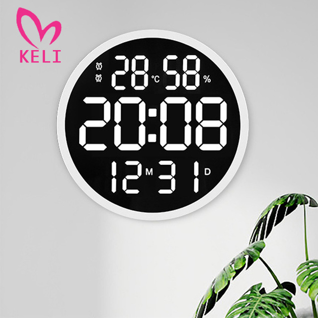 12inch LED Large Number Wall Clock Digital Temperature And Humidity Electronic Clock Modern Design Decoration Home Office Decor