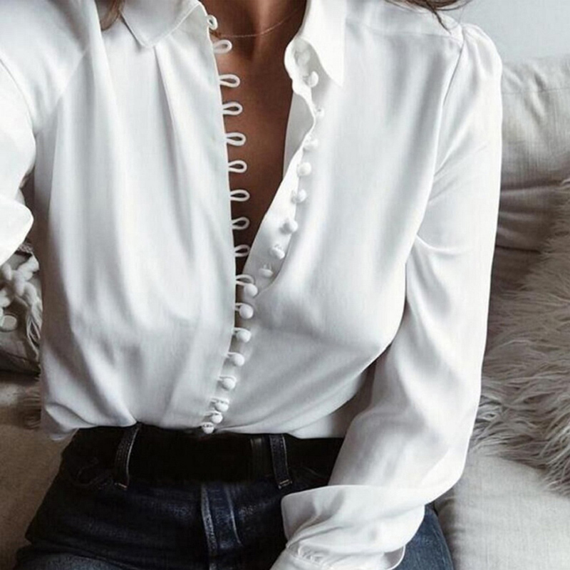 Women   Shirt   Sexy 2019 Autumn Buttons V Neck Turn-down Collar Long Sleeve   Blouse   Plus Size 5XL White Ladies Minimalist Office Top