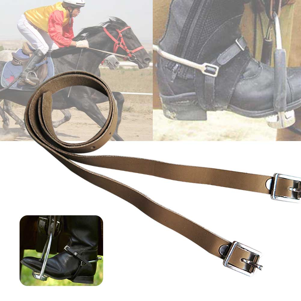 2 Pcs Long Accessories With Buckle Horse Riding PU Leather Equipment Outdoor Durable Solid Spur Strap Protective Training Sports