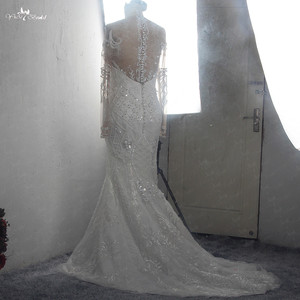 Image 4 - RSW1541 Africa Black Girls Long Sleeves Heavy Beaded Lace Mermaid Wedding Dress