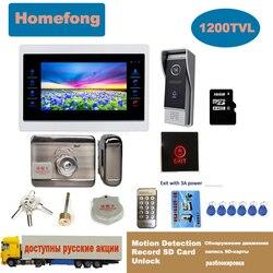 Homefong 7 Cal wideodomofon elektroniczny zamek do drzwi wyjście przycisk dotykowy Home interkom wideo dzwonek telefonu z kamerą