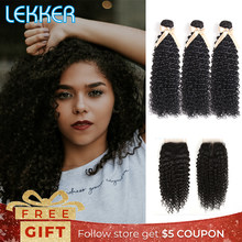 Lekker Kinky Curly Hair Bundles with Closure(China)