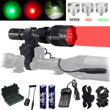 VA-802 LED Rechargeable Flashlight 1 Mode 400 Yard 3 Light color (Green/Red/White) Hunting Flashlight  For 18650 battery sipids s10 1 led white 2 led red 2 mode headlamp black fluorescent green 3 x aaa