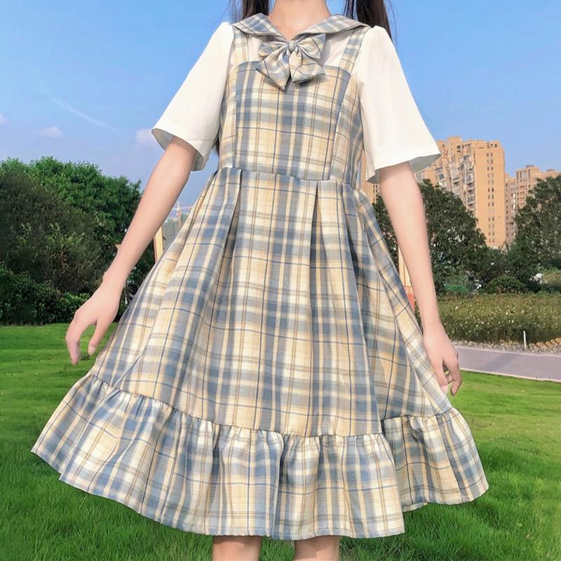 Dress Japanese College-Style Sleeveless Student  Plaid Ruffled Dress fairy dress  tea party  lolita dress  sweet lolita doll