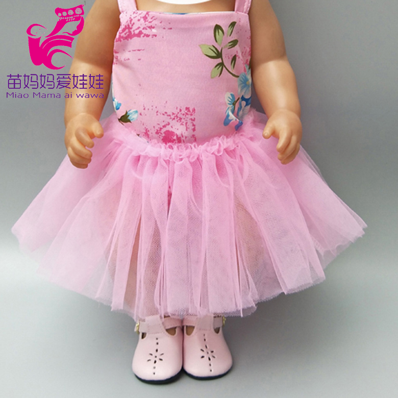 Doll Dress For 43cm  Baby Dolls Pink Tutu Dress Headband For 18 Inch Girl Dolls Dress Doll Clothes Dropshipping