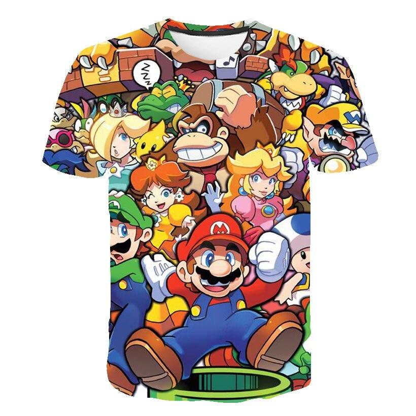 Super Mario Bros Mashup kids T Shirt Top Mushroom Kingdom Luigi Nintendo Geek Italian Simple Splicing boys and girls Tee Tops