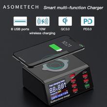 Carregador de celular com 8 entradas usb, estação de carregamento rápido usb pd qc 3.0, carregador inteligente sem fio, para iphone samsung