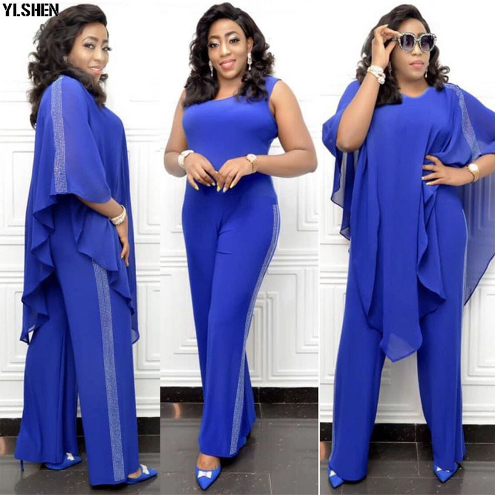 African Jumpsuit Set Dresses For Women Sequined African Clothes New Dashiki Elastic Bazin Baggy Pants Cloak Famous Suit For Lady
