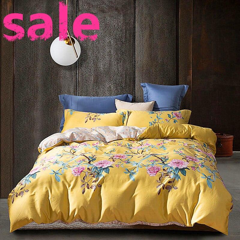 4 pièces ensemble de literie européen égyptien coton linge de lit doux Satin literie florale pastorale housse de couette taies d'oreiller couvre-lits