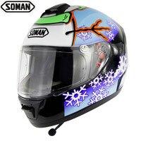 Soman Helmets Motorcycle Racing Wireless Bluetooth Moto Helmet Snowman Pattern Dot Abs Casque Integral Homme Full Face Capacete