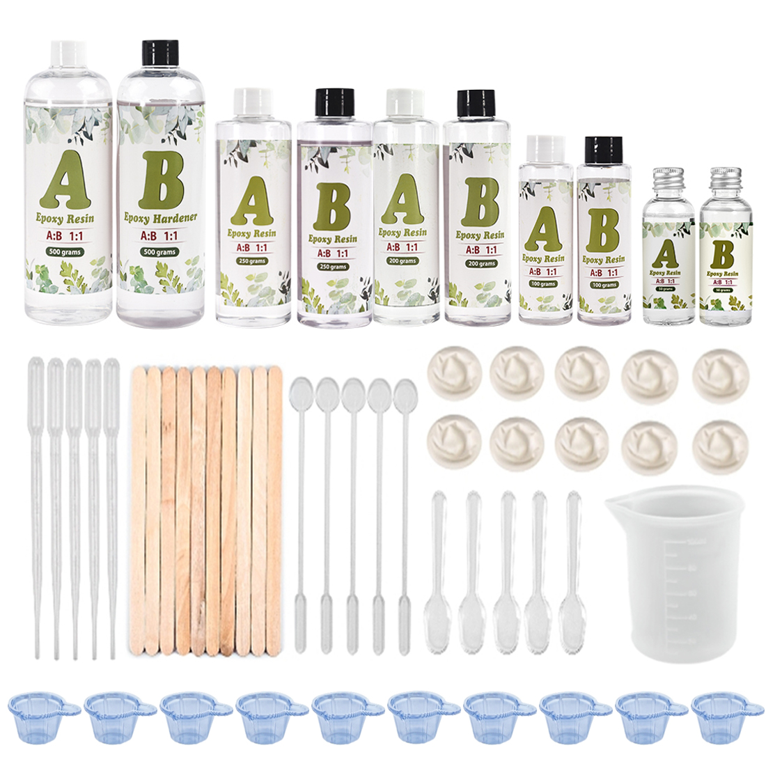 AB Crystal Epoxy Resin Glue Small Bottle 1:1 AB 1 Set Resin Molds Making Tools Starter Set DIY Tools Kits Stirring Stick