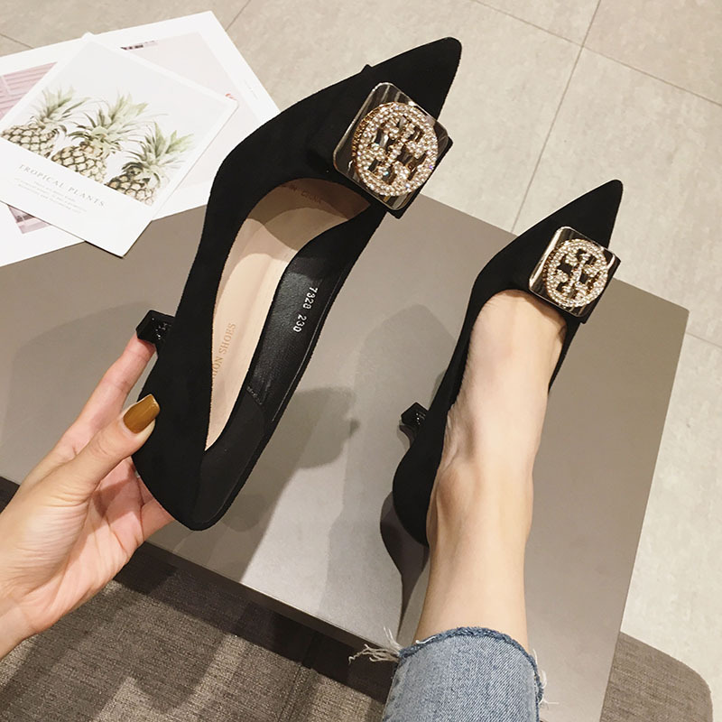 LIMEIKE Pointed High Heels Female 2019 New  The Wild Shallow Mouth Stiletto Sexy Single Shoes French Girl Work Shoes 5.5-7.5cm