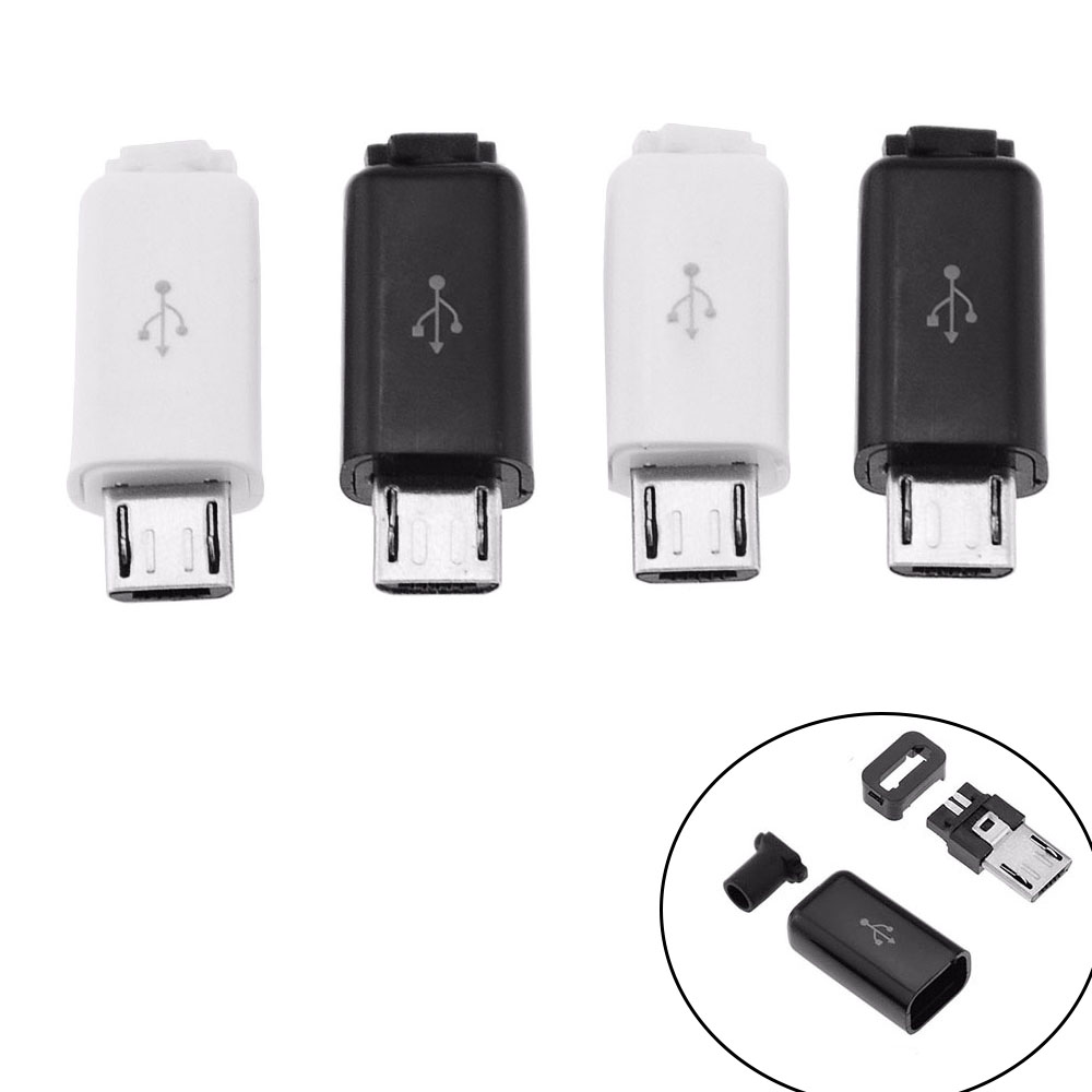 10PCS 4 In 1 Micro USB 5Pin Male Connector Plug Black/White Welding Data OTG Line Interface DIY Data Cable Accessories