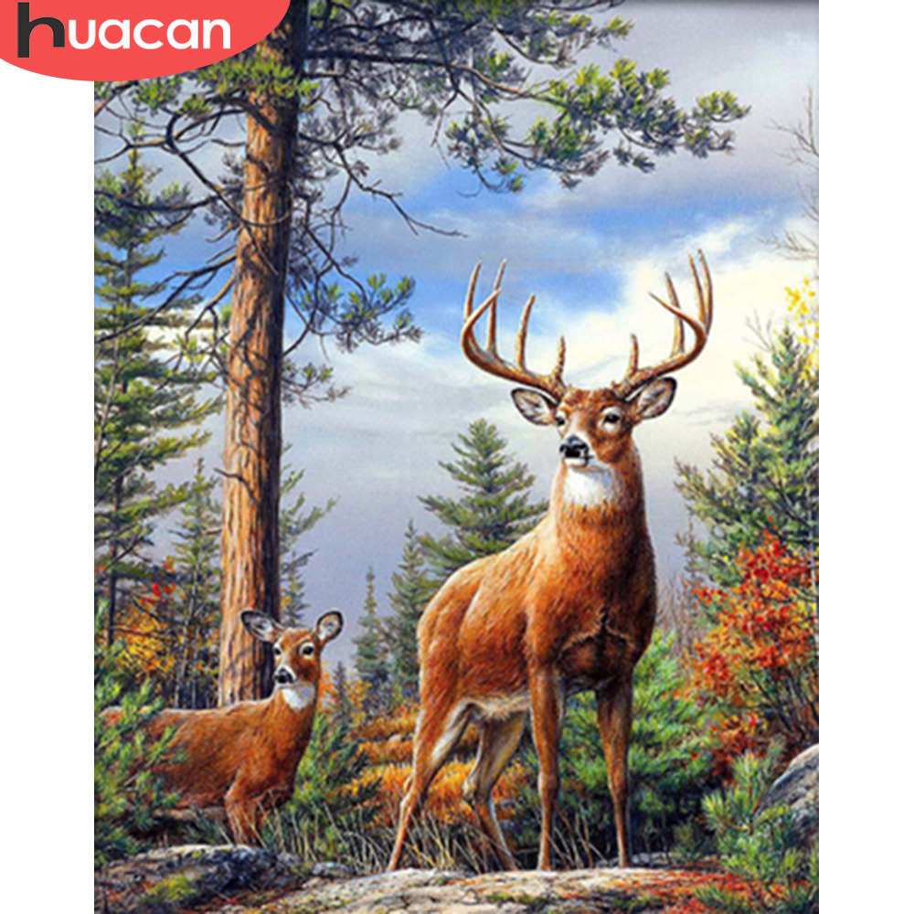 HUACAN Painting By Numbers Animal Kits Drawing Canvas DIY HandPainted Deer Pictures Art Gift Home Decor