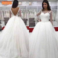 Marvelous Backless White Wedding Dresses Garden Scoop Lace Applique Ivory Bridal Gowns Long Sleeve Tulle Ball Gown Wedding Dress