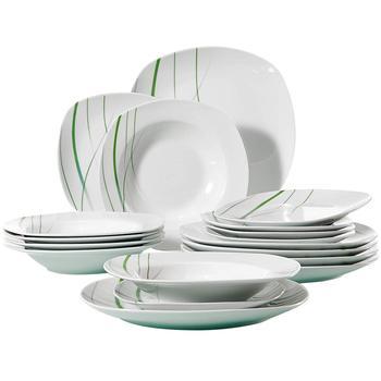 "VEWEET AVIVA 18-Piece Dinner Plate Sets Ceramic Porcelain Tableware Set of 9.75"" Dinner Plate,7.5"" Dessert Plate,8.5"" Soup Plate"
