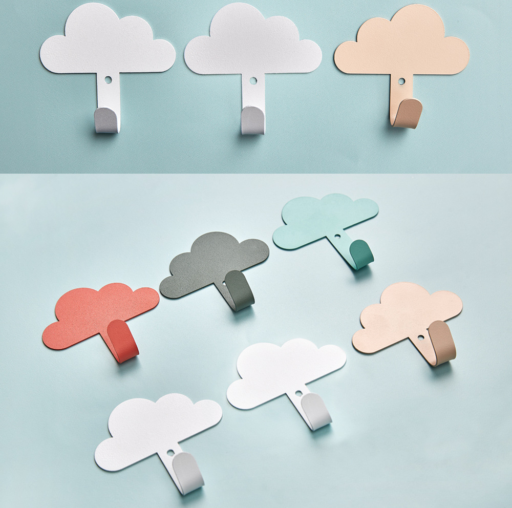 Nordic Wall Mounted Hanger Cloud Shaped Clothes Hook Kid Bedroom Decoration Punch-free Key Wall Hanging