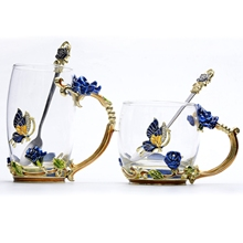 Beauty And Novelty Enamel Coffee Cup Mug Flower Tea Glass Cups for Hot and Cold Drinks Tea Cup Spoon Set Perfect Wedding Gift creative enamel stained glass water cup high end flower tea cup heat resistant glass cups european enamel cup couple mug