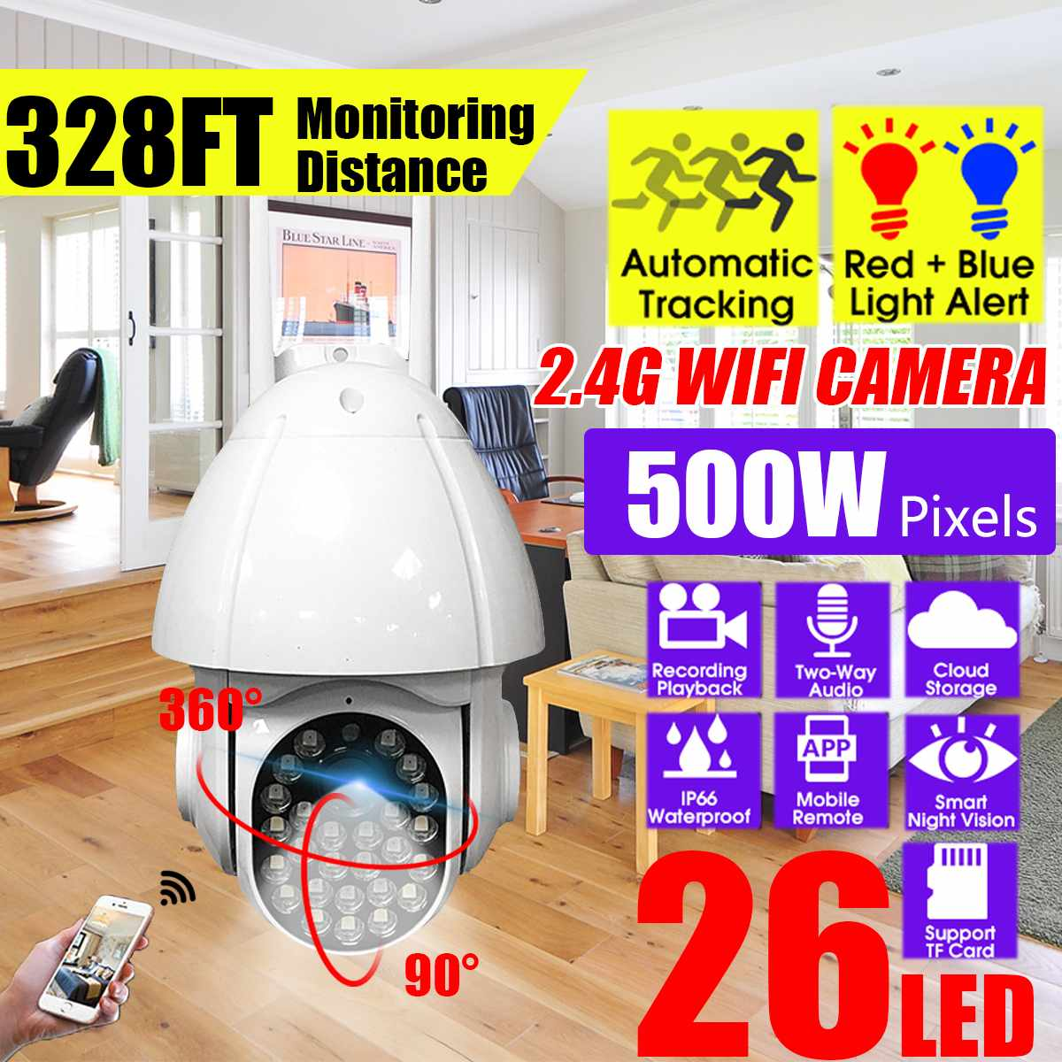 Outdoor 1080P IP Camera 5.0MP Speed Dome Wireless Wifi Security Camera Infrared Night Vision CCTV Cloud Storage For Home/Office