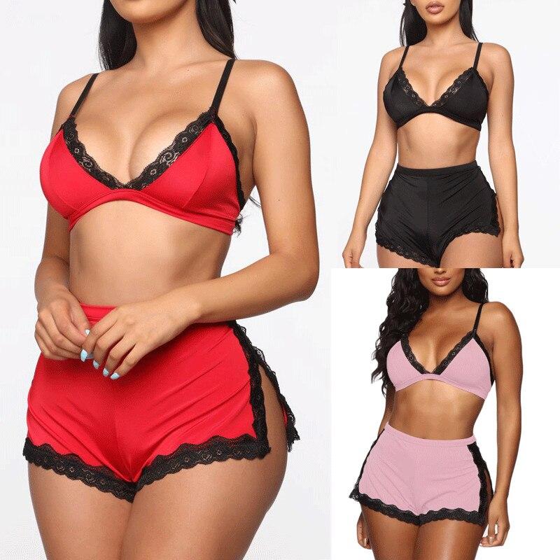 Women Sexy Lace Deep V-neck Lingerie Set Lace Bra Crop Tops High Waist Split Shorts Set Babydoll Nightwear Sleepwear Underwear