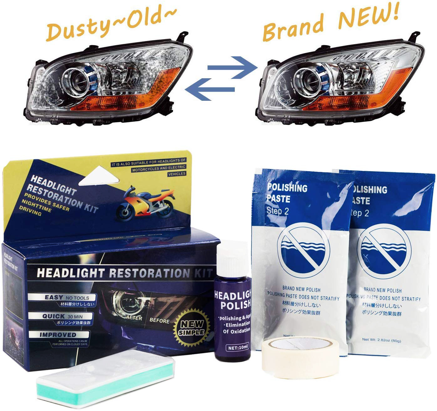 Headlight Restoration Repair Kit for Renault Clio Cloudy Yellowish Lens