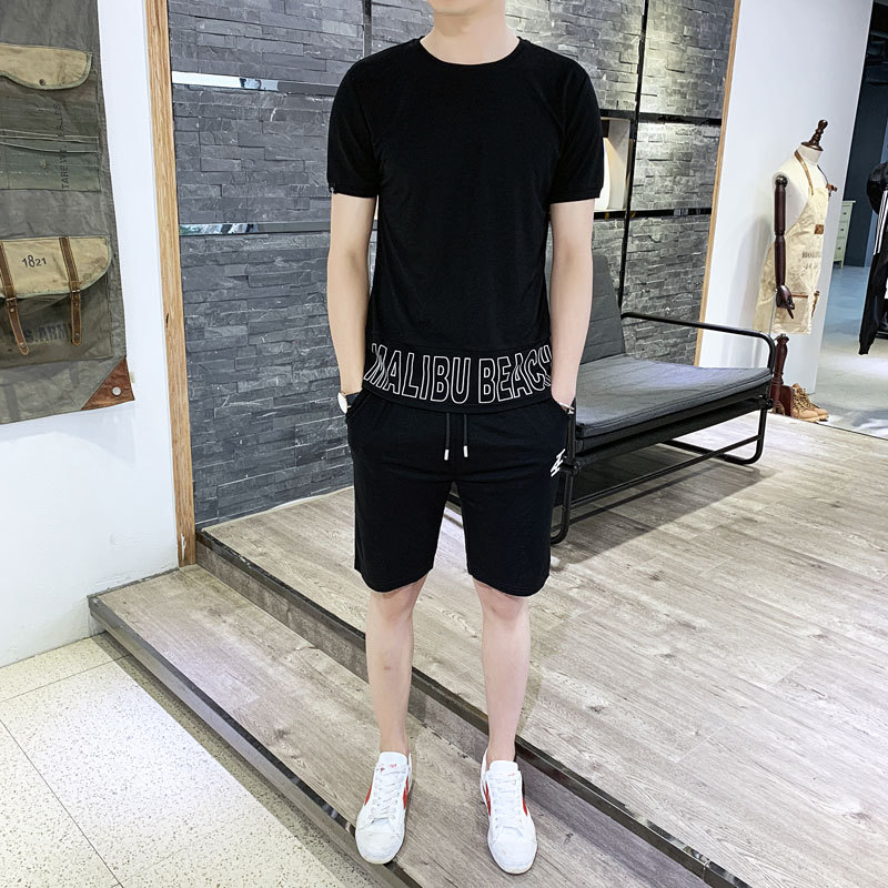 2019 New Style MEN'S Casual Suit Short Sleeve T-shirt Men's Summer New Products Casual Men's Two-Piece Set Sports Shorts