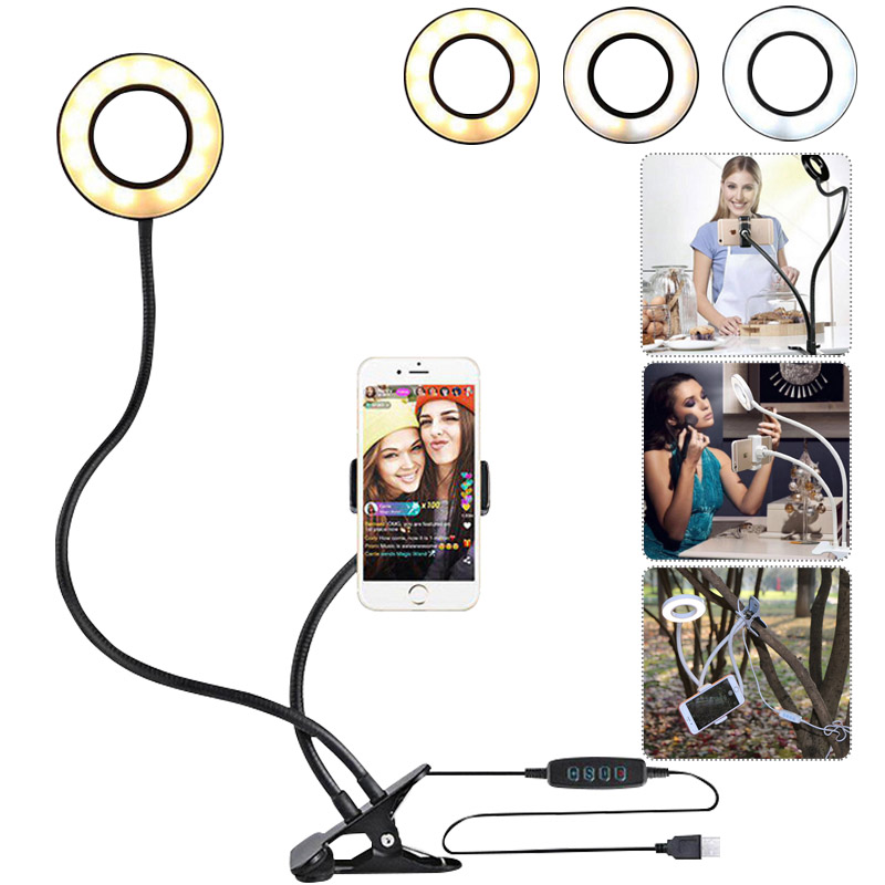 Desk Clip LED Camera Lamp for Live Stream Compatible Android Phone iPhone 8 7 6 Plus X 6s SE Selfie Ring Light with Cell Phone Holder Stand