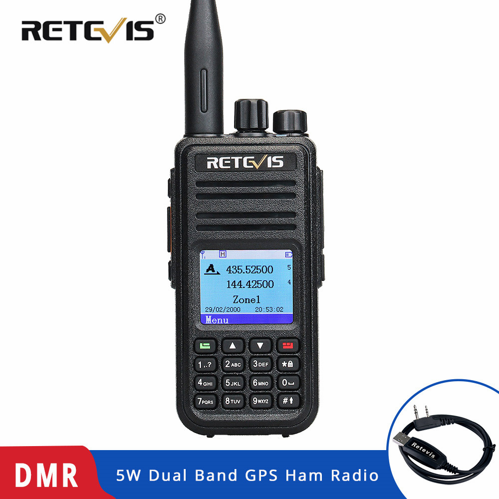 RETEVIS RT3S DMR デジタルラジオトランシーバー (GPS) 5 ワット VHF UHF デュアルバンド DMR ラジオトランシーバーアマチュア無線 Amador + プログラムケーブル  グループ上の 携帯電話 & 電気通信 からの トランシーバー の中 1