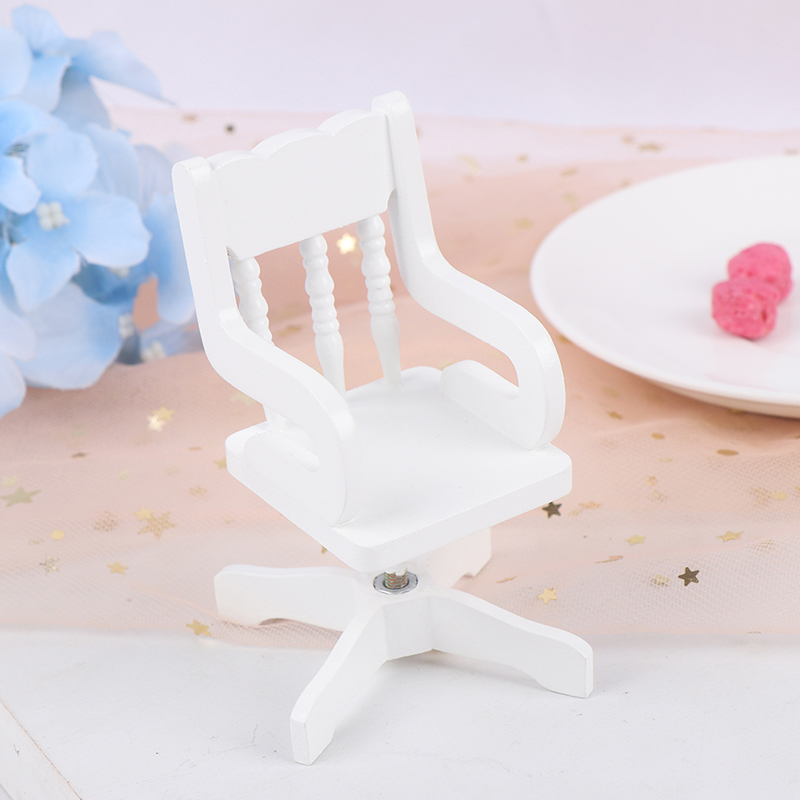 1:12 Dollhouse Miniature White Wooden Swivel Chair For Dolls Kids Role Play Toys Gift Chair Furniture For Dolls House Decoration