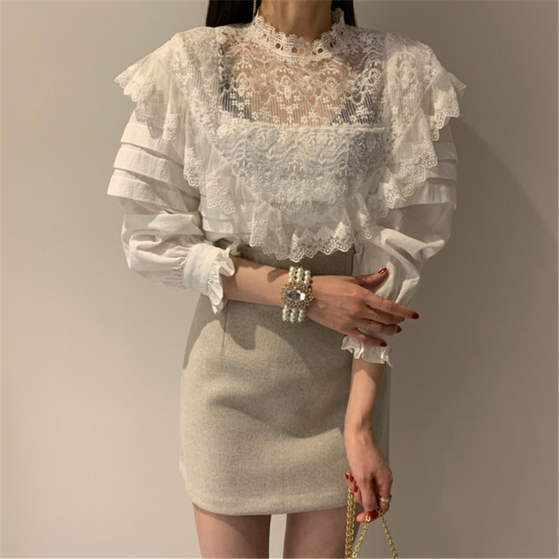 Alien Kitty New Special Design Sexy Loose Office Lady Tops 2020 Patchwork Lace Casual All-Match Stylish Cotton Linen Blouses