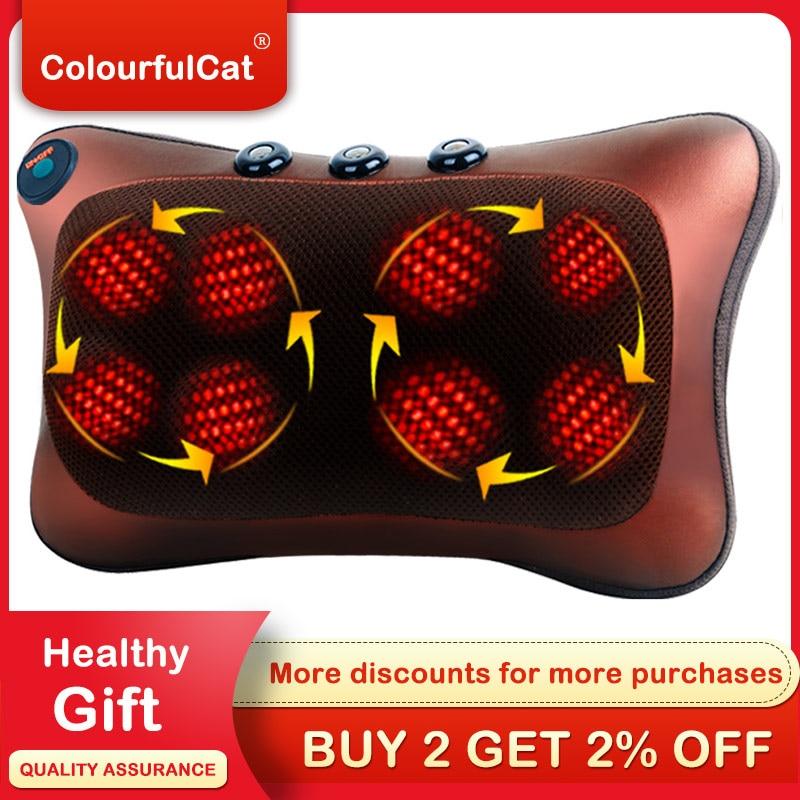328 Sale Shiatsu Massage Pillow Infrared Heating Neck Shoulder Back Body Massager Device Cervical Health Care Massageador