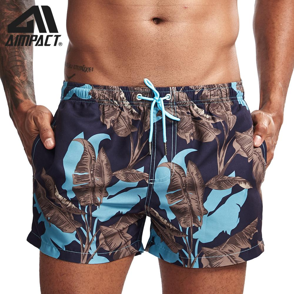 2 Mens Casual Swim Trunks Pattern Swimsuit with Pockets Polyester Flamingo and Palm Leaves