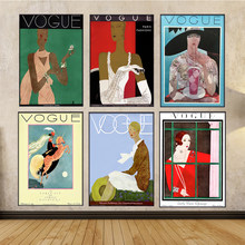 Wall Art Decor Canvas painting Pictures Vintage Poster and Prints paintings Retro Art Vogue Fashion Women Poster for living room