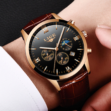 LIGE Mens Watches Top Brand Luxury Leather Casual Quartz Watch Men Military Sport Waterproof Clock Black Watch Relogio Masculino top brand luxury moon phase men quartz watches mens casual sport watch male multifunction waterproof clock relogio masculino