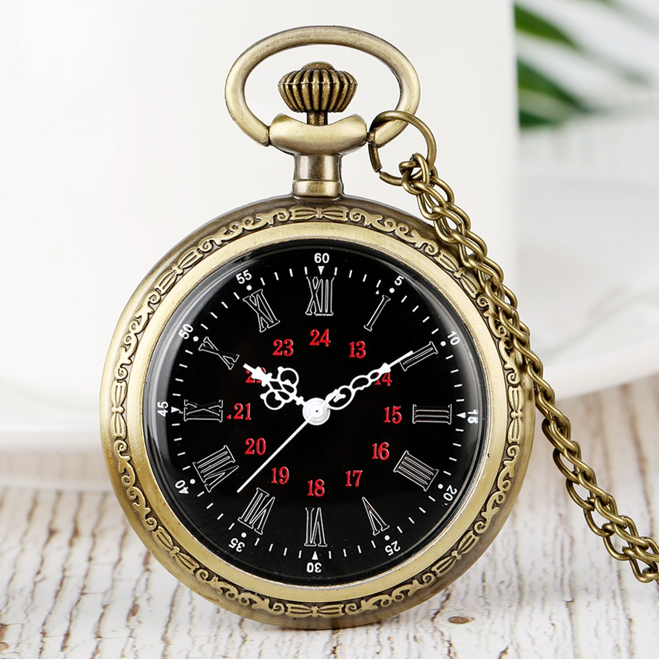Black Design No Cover Quartz Pocket Watches Roman Numerals Dial Steampunk Bronze Necklace Chain Watch Fashion Men Women Gifts
