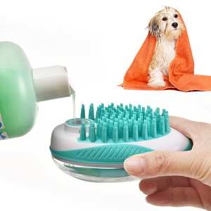 Pet Dog Bath Brush Comb Pet SPA Massage Brush Soft Silicone Dogs Cats Shower Hair Grooming Cmob Dog Cleaning Tool Pet Supplies(China)
