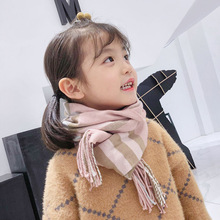 Winter Children scarves Plaid warm Scarf Kids Boy Girls thick Imitation cashmere Tassel grid Scarves neckerchief