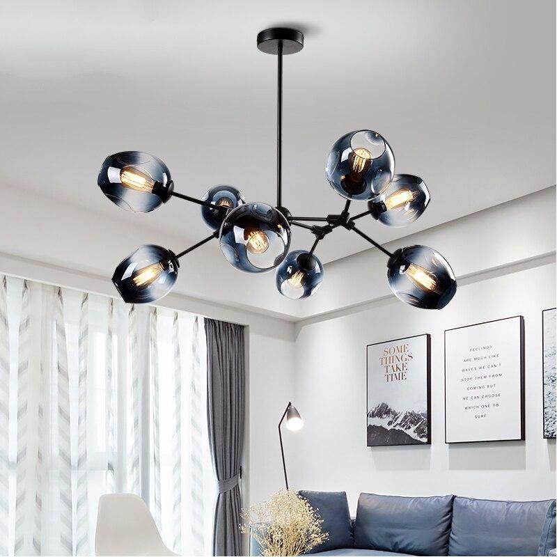 Modern Glass Ball Led Chandelier Dinning Room Bedroom Chandelier Lighting Nordic Kitchen Lustre Luminaire Hanging Light Fixtures