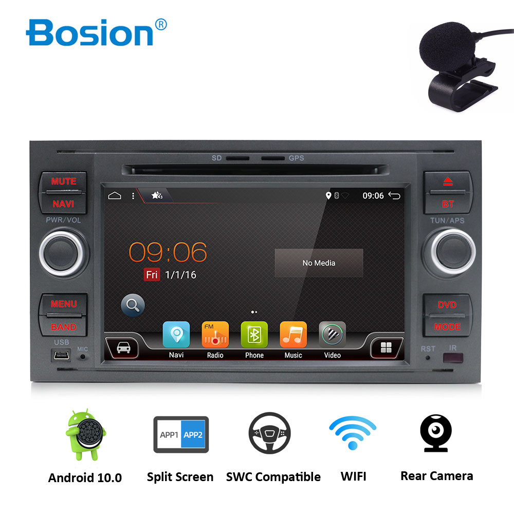 Car Multimedia DVD Player <font><b>2Din</b></font> Car Radio GPS <font><b>Android</b></font> 10.0 For Ford Focus <font><b>2</b></font> Mondeo 4 C-Max S-Max Ford Fiesta Kuga Fusion Galaxy image
