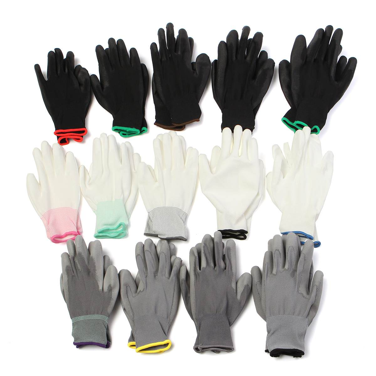 GREY PU Palm Coated Precision Work Gloves Multi Purpose Hand Protection