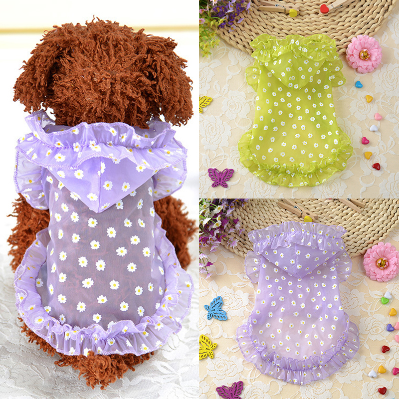 Summer Dog Clothes Sun-Proof Clothing Summer Sun Protection Hoodies small Dog Clotehs Flower Print Small Puppy Dog Supplies