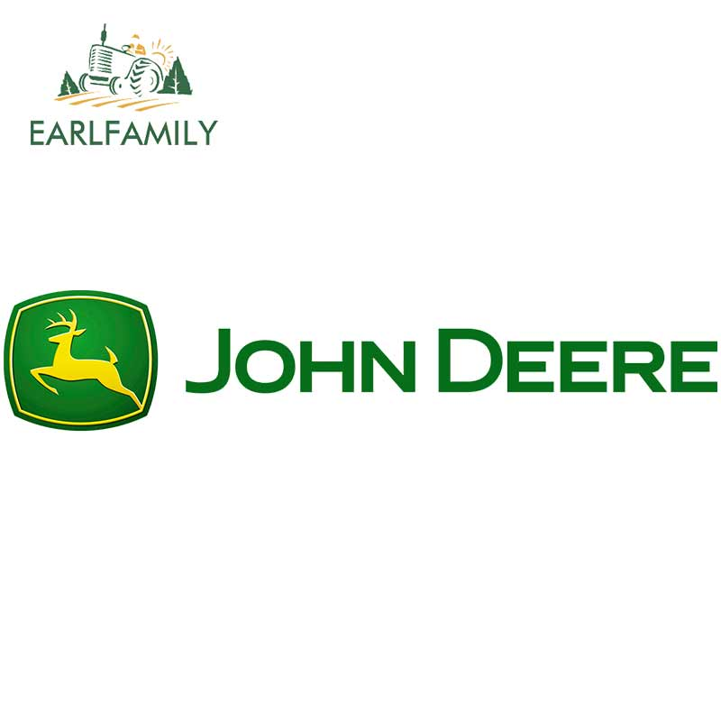 EARLFAMILY 13cm X 3.1cm For John Deere Car Stickers Sunscreen Decal Waterproof Motorcycle Personality Occlusion Scratch